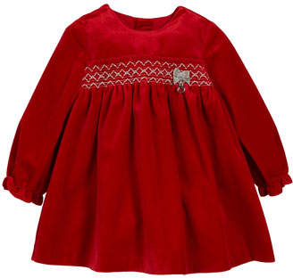 Mayoral Smocked Long-Sleeve Velvet Dress, Size 1-12 Months