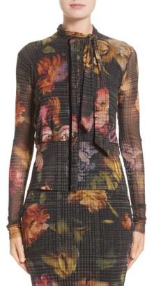 Women's Fuzzi Velvet Trim Print Tulle Cardigan $440 thestylecure.com