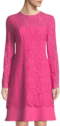 Mikael Aghal Long-Sleeve Floral-Lace Dress