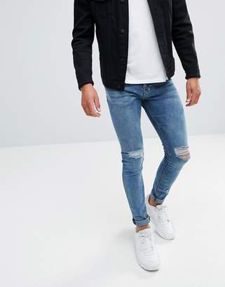 Pull&Bear Super Skinny Jeans In Blue Wash