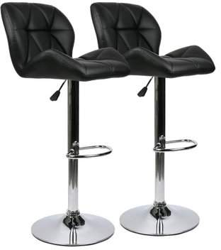 Musicrazyou NEW Upgraded Modern 2 Pcs PU Leather Swivel Adjustable Height Dinning Chair Barstools Chair(Black)