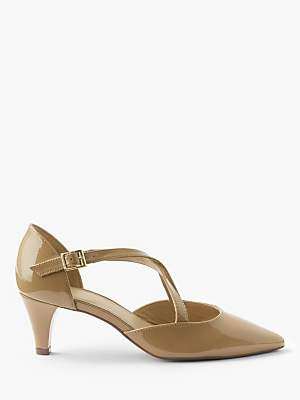 John Lewis & Partners Adaline Block Stiletto Heel Leather Court Shoes, Beige