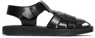 The Row Fisherman Caged Leather Sandals - Womens - Black