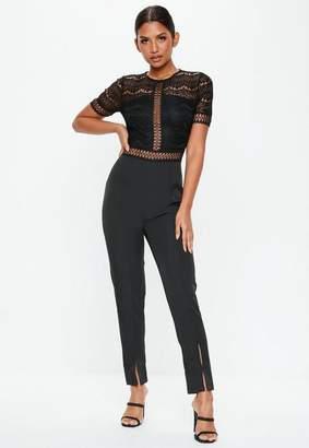 Missguided Black Lace Top Cigarette Trouser Jumpsuit, Black