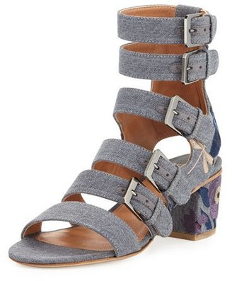 Laurence Dacade Nora Embroidered Buckle-Strap Sandal, Stone/Blue $980 thestylecure.com
