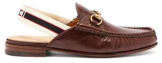 Gucci Roos Horsebit Slingback Strap Leather Loafers - Mens - Brown