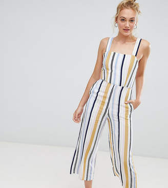 New Look Tall stripe jumpsuit in white pattern
