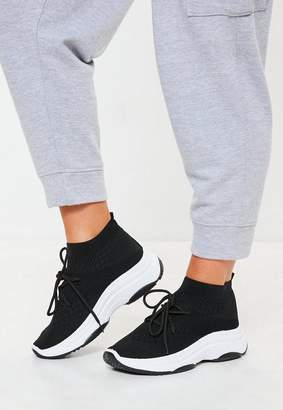 Missguided Black Knit Lace Up Sock Sneakers