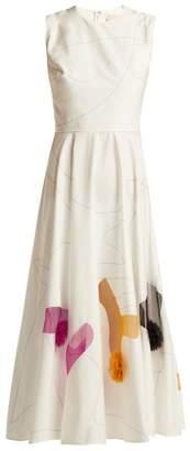 Roksanda Giulietta Cotton Blend Midi Dress - Womens - Ivory Multi