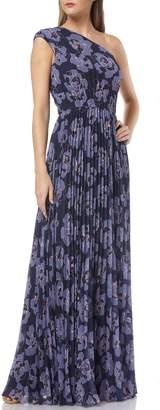Kay Unger One-Shoulder Printed Chiffon Evening Dress