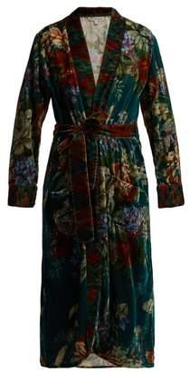 D'ascoli - Vita Floral Print Silk Velvet Robe - Womens - Blue Multi