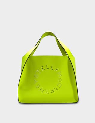 Stella McCartney Alter Nappa Fluo Tote Stella Logo Bag in Neon Yellow Eco Leather