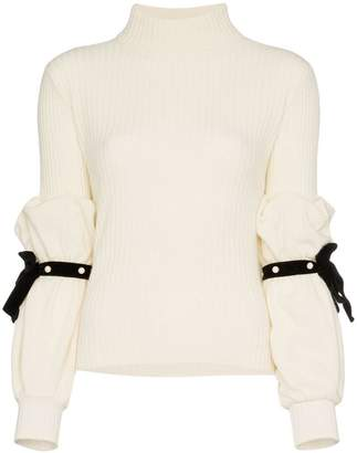 Philosophy di Lorenzo Serafini pearl ribbon sleeve rollneck jumper