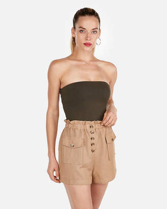 Express High Waisted Cargo Pocket Linen Shorts
