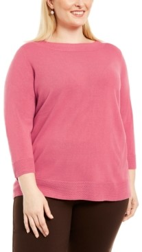 Karen Scott Plus Size Ballet Neckline Sweater, Created For Macy's