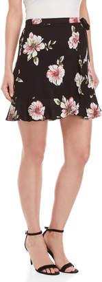 Band of Gypsies Hibiscus Print Ruffle Mini Skirt