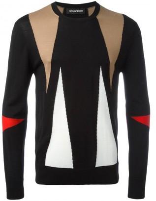 Neil Barrett intarsia geometric pattern jumper $620 thestylecure.com