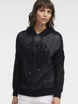 DKNY Open-Knit Hoodie