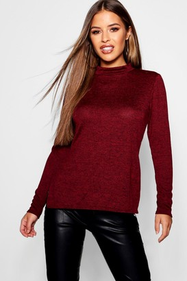 boohoo Petite High Neck Soft Knit Side Split Tunic Top