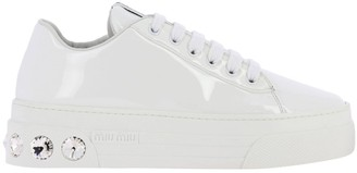 Miu Miu Sneakers Lace-up Sneakers In Patent Leather With Rhinestones