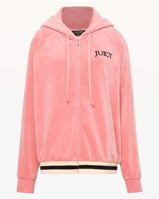 Juicy Couture Ultra Luxe Velour Relaxed Hooded Jacket