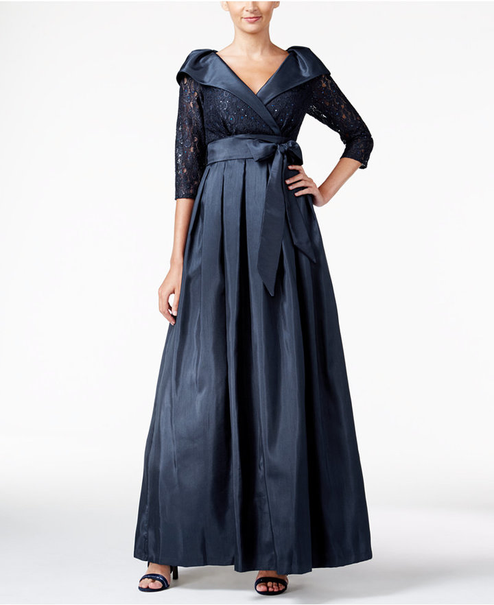Jessica Howard Belted Portrait-Collar Ball Gown