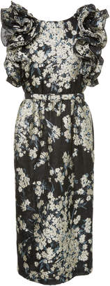 Co Floral Ruffle Midi Evening Dress