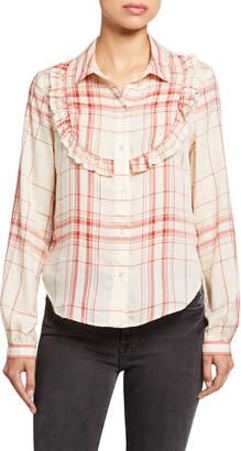 Frame Ruffled Bib Check Button-Front Shirt