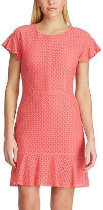 Chaps Women's Lace Flounce Hem Dress