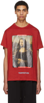 Off-White Off White Red and Black Diagonal Monalisa T-Shirt