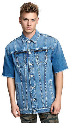 True Religion MENS ELONGATED CUT-OFF TURNER DENIM JACKET