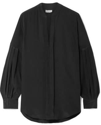 Equipment Estella Pleated Washed-silk Blouse - Black