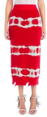 MSGM Tie Dye Knit Midi Skirt