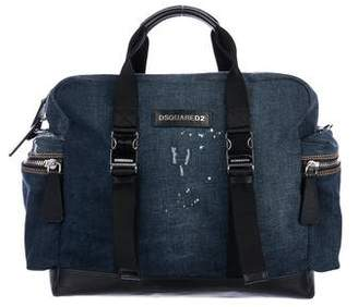 DSQUARED2 Leather-Trimmed Denim Duffle Bag