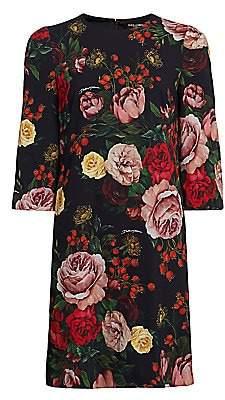 Dolce & Gabbana Women's Crepe Rose Print Shift Dress