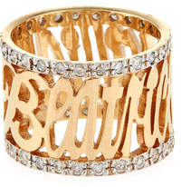 Jennifer Creel Personalized 14K Yellow Gold Note Ring with Diamonds