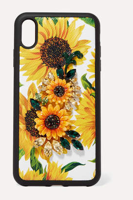 Dolce & Gabbana Embellished Floral-print Textured-leather Iphone Xs Max Case - Yellow