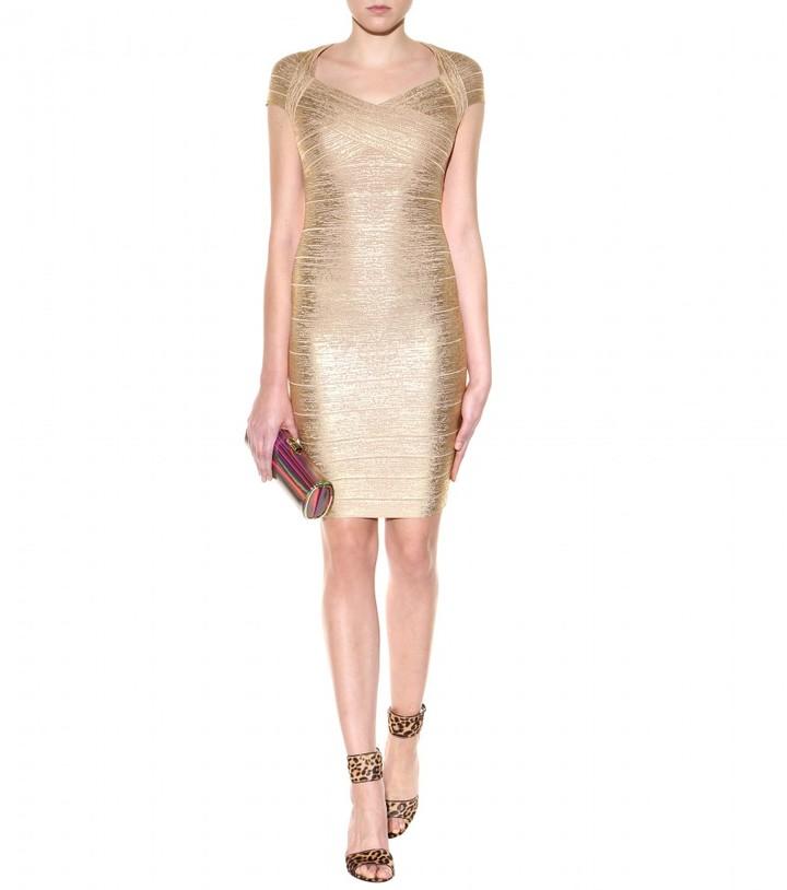 Herve Leger Tejana coated metallic bandage dress