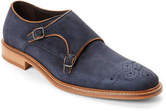 Bruno Magli Navy Joseph Suede Monk Strap Shoes