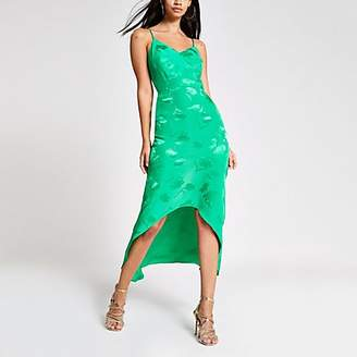 River Island Green embroidered floral midi slip dress