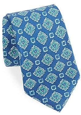 Isaia Men's Floral Print Silk Tie