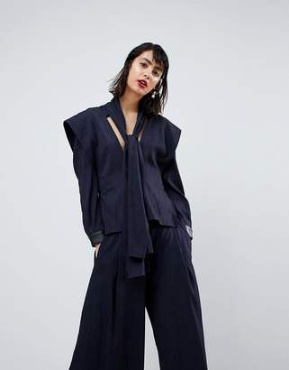 Asos Multi Strap Tailoring Top With PU Cuff