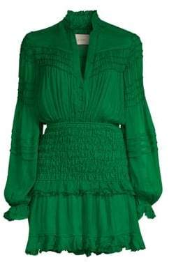 Alexis Shaina Shirred Silk Mini Dress