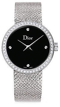 Christian Dior Women's La D De 25MM Black Satine & Diamond Stainless Steel Bracelet Watch