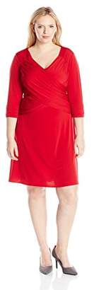 NY Collection Womens Plus Faux Wrap A Line Casual Dress