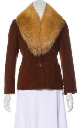 Derek Lam Fox Fur Trim Corduroy Jacket w/ Tags Fox Fur Trim Corduroy Jacket w/ Tags