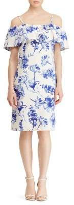 Lauren Ralph Lauren Floral-Print Ruffled Crepe Dress