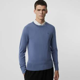 Burberry Crew Neck Cashmere Sweater , Size: L, Blue
