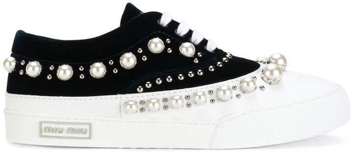 Miu Miu faux pearl embellished sneakers
