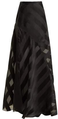 Lanvin High Rise Chevron Striped Silk Blend Skirt - Womens - Black